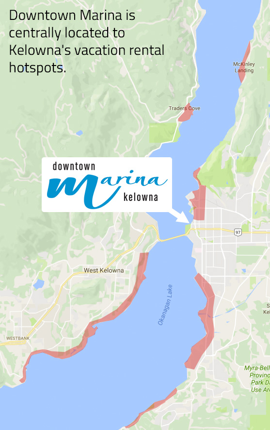 Map of Kelowna Vacation Rental Areas